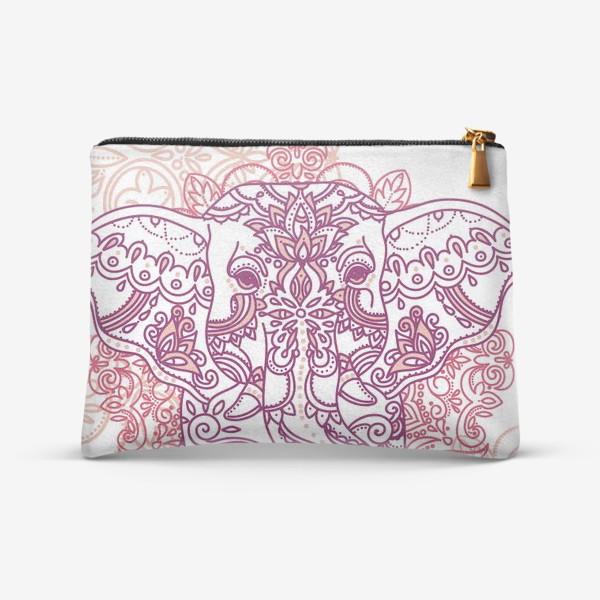 Косметичка «Слон и романтичный индийский орнамент»