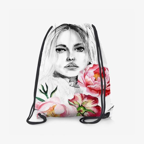 Рюкзак «Девушка и пионы»