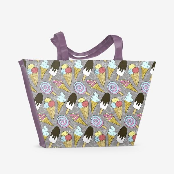 Пляжная сумка «Мороженое на палочке и мороженое в рожке (белая тень)»