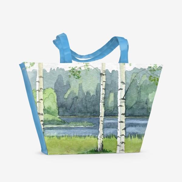 Пляжная сумка «Пейзаж с березами»