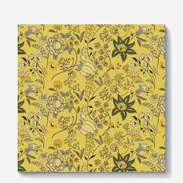 Холст «Паттерн с желтыми абстрактными цветами»