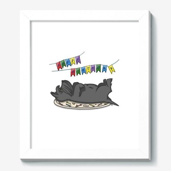 Картина «С Днем рождения. Торт и шотландский скотч терьер»