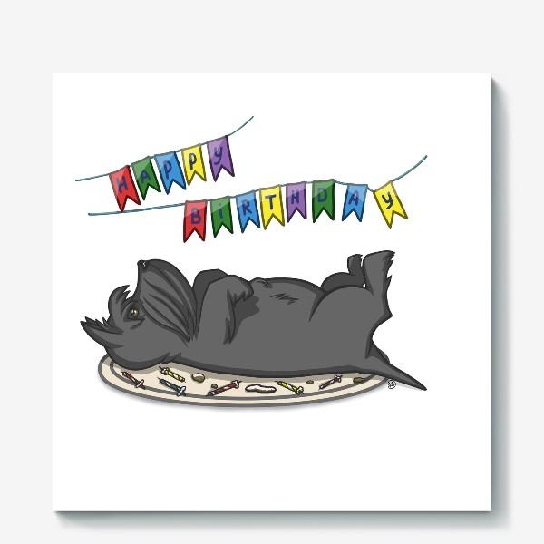 Холст «С Днем рождения. Торт и шотландский скотч терьер»