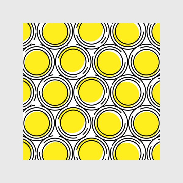 Шторы «Геометрический узор желтые круги»