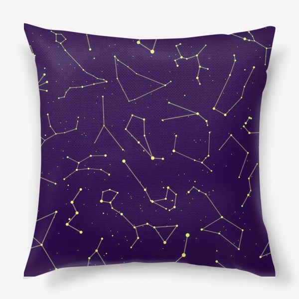 Подушка «Звездные созвездия, зодиакальные, большая и малая медведица, Кассиопея, созвездие кит »