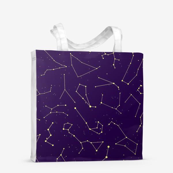 Сумка-шоппер «Звездные созвездия, зодиакальные, большая и малая медведица, Кассиопея, созвездие кит »