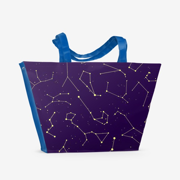 Пляжная сумка «Звездные созвездия, зодиакальные, большая и малая медведица, Кассиопея, созвездие кит »