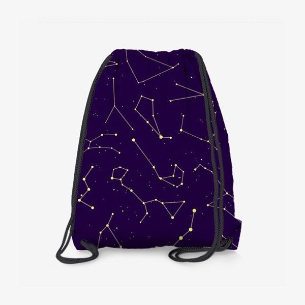 Рюкзак «Звездные созвездия, зодиакальные, большая и малая медведица, Кассиопея, созвездие кит »