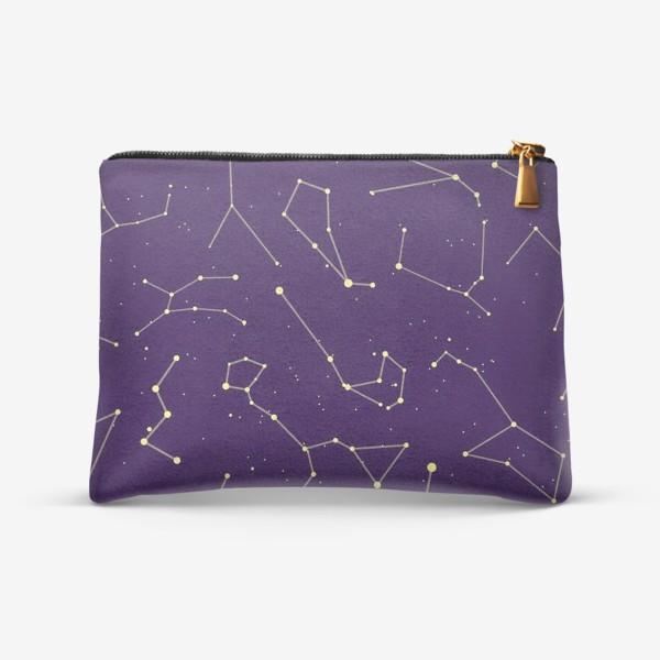 Косметичка «Звездные созвездия, зодиакальные, большая и малая медведица, Кассиопея, созвездие кит »