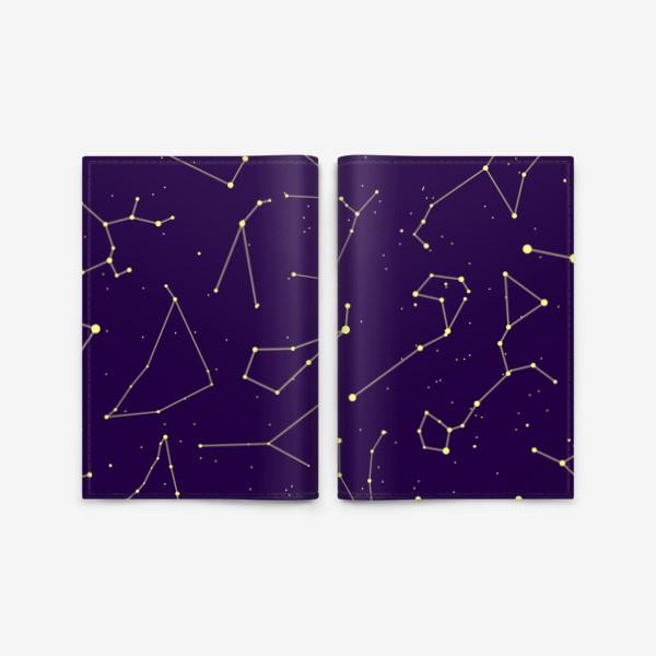 Обложка для паспорта «Звездные созвездия, зодиакальные, большая и малая медведица, Кассиопея, созвездие кит »