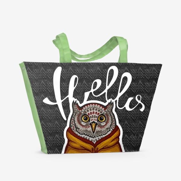 Пляжная сумка «Звери с приветом. Сова хипстер стикер »