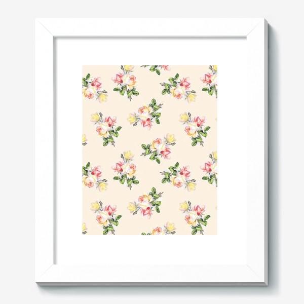 Картина «Чайные розы на бежевом фоне»