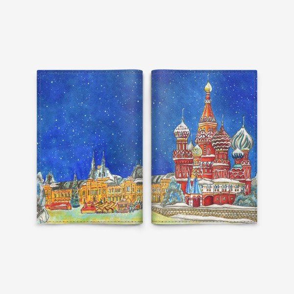 Обложка для паспорта «ПРЕДНОВОГОДНЯЯ МОСКВА»
