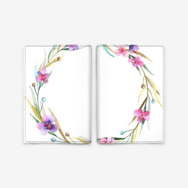 Обложка для паспорта «цветочный веночек»