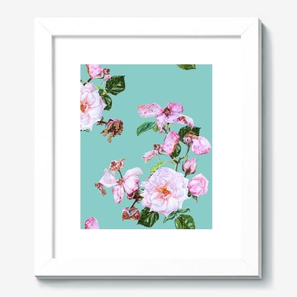 Картина «Розовые розы на голубом»