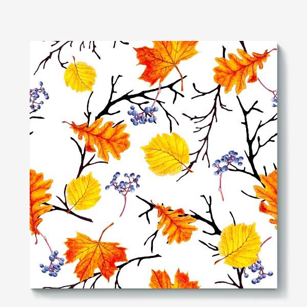 Холст «Осенние листья и дикий виноград»