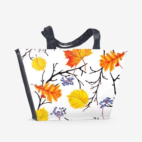 Пляжная сумка «Осенние листья и дикий виноград»
