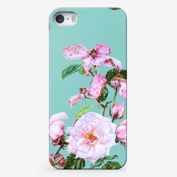 Чехол iPhone «Розовые розы на голубом»