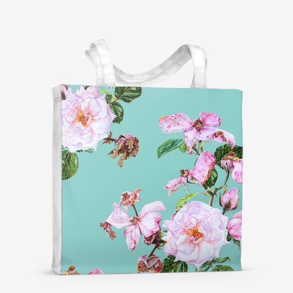 Сумка-шоппер «Розовые розы на голубом»