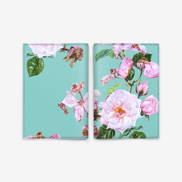 Обложка для паспорта «Розовые розы на голубом»