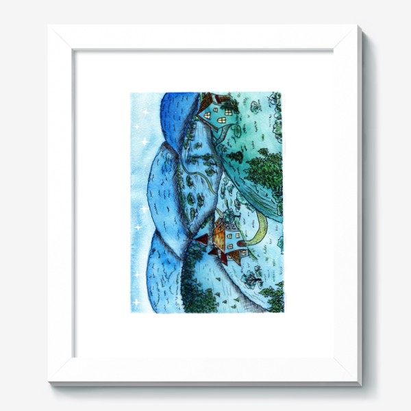 Картина «Вечерние сказочные домики на холмах»