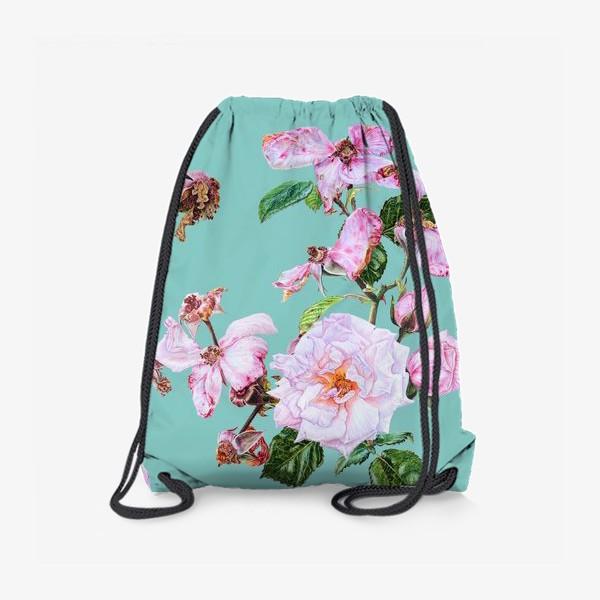 Рюкзак «Розовые розы на голубом»