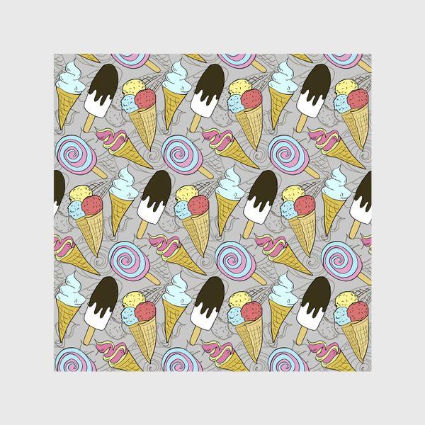 Шторы «Мороженое на палочке и мороженое в рожке (черная тень)»