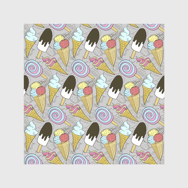 Скатерть «Мороженое на палочке и мороженое в рожке (черная тень)»