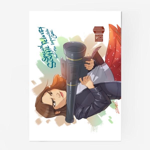 """Постер «Клара Освальд. Экспресс суфле с доставкой на дом от невероятной девушки  (""""Доктор кто"""")»"""