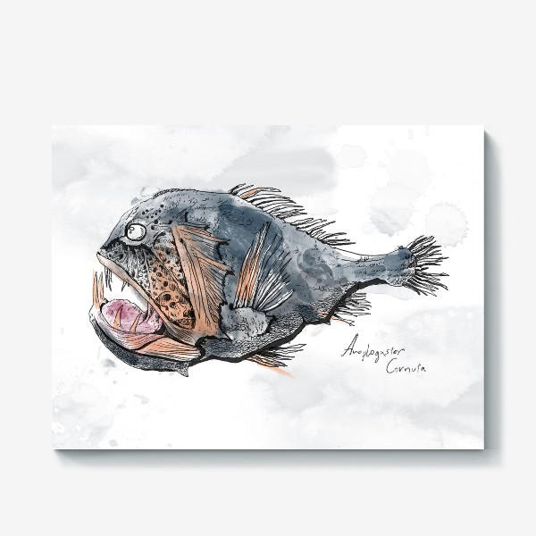 Холст «Страшная зубастая глубоководная рыба №1»