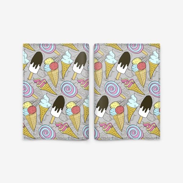 Обложка для паспорта «Мороженое на палочке и мороженое в рожке (черная тень)»