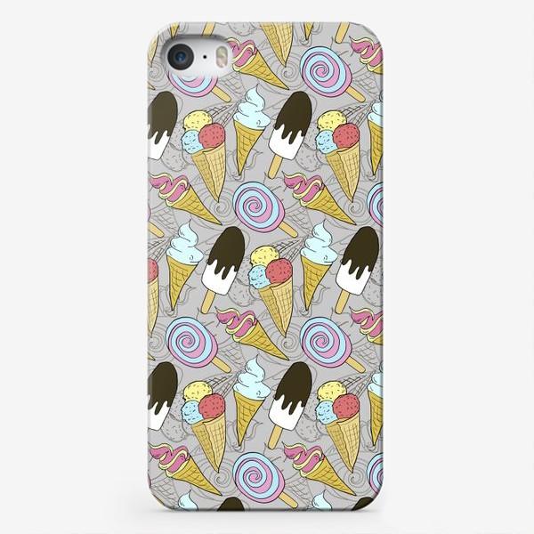 Чехол iPhone «Мороженое на палочке и мороженое в рожке (черная тень)»