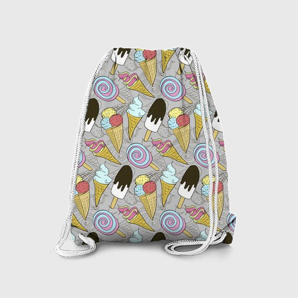 Рюкзак «Мороженое на палочке и мороженое в рожке (черная тень)»