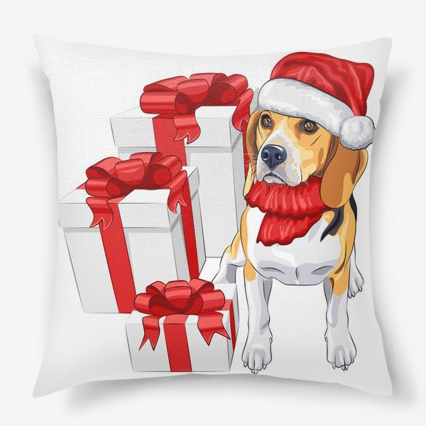 Подушка «бигль с новогодними подарками»