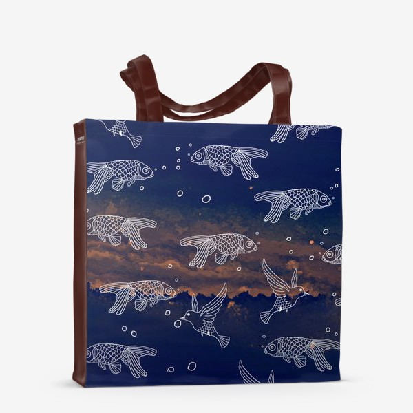 Сумка-шоппер «Патерн в синем море»
