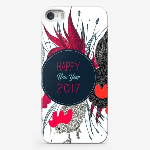 Чехол iPhone «3 петушка 2017»