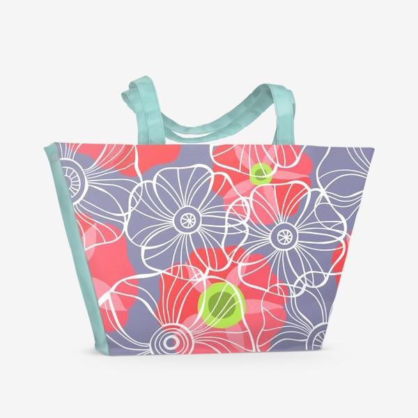Пляжная сумка «текстура милые цветочки»