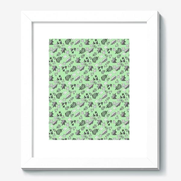 Картина «Листья на фоне зеленой патины. Паттерн»