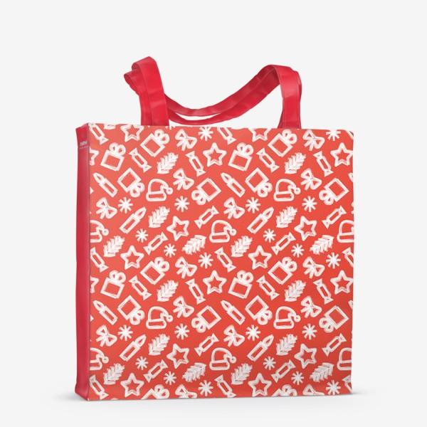 Сумка-шоппер «Новогодний узор, красный»