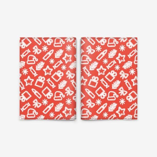 Обложка для паспорта «Новогодний узор, красный»