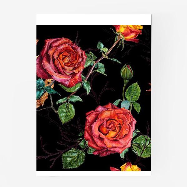 Постер «Узор из красных роз на черном фоне»