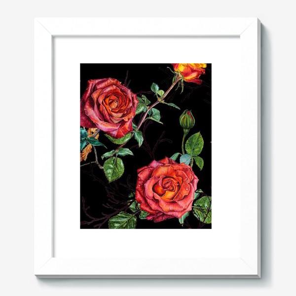 Картина «Узор из красных роз на черном фоне»