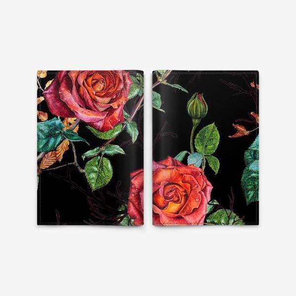 Обложка для паспорта «Узор из красных роз на черном фоне»