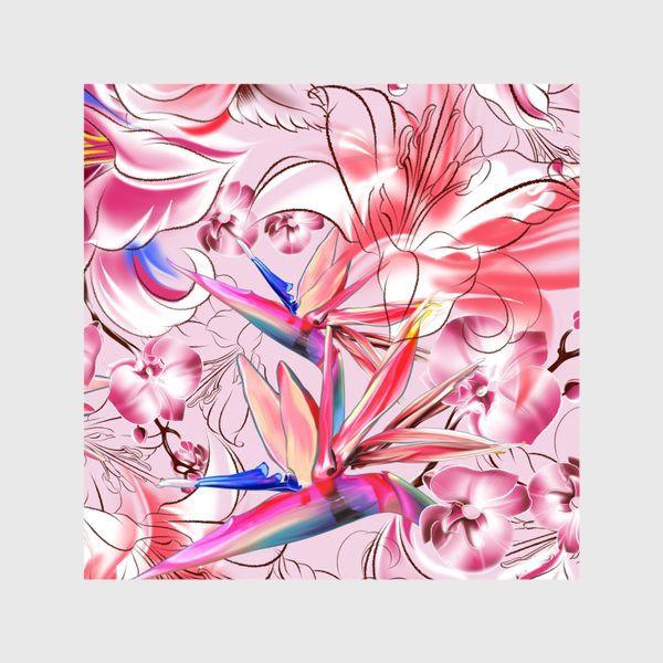 Шторы «Цветочный розовый узор»