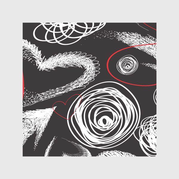 Скатерть «Текстура с дудлами, стрелками и сердечками»