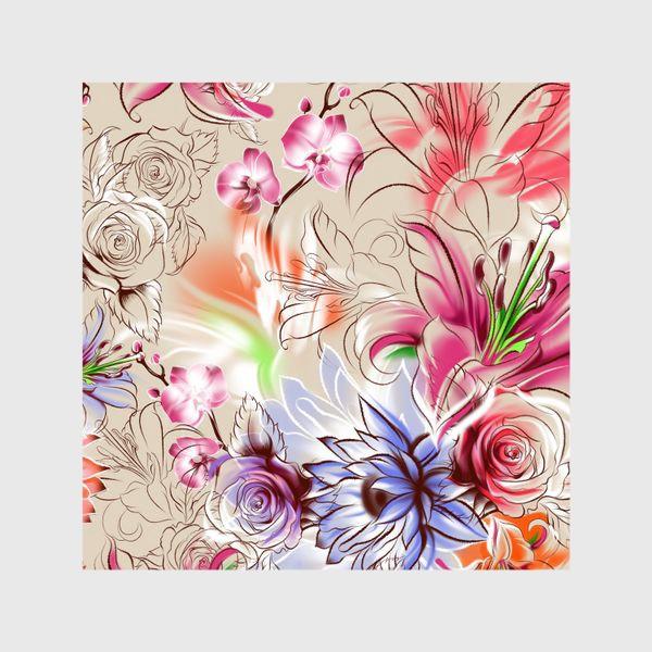 Шторы «Бесшовный паттерн с лилиями, орхидеями и розами»