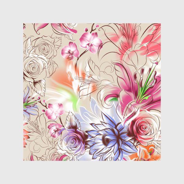 Скатерть «Бесшовный паттерн с лилиями, орхидеями и розами»