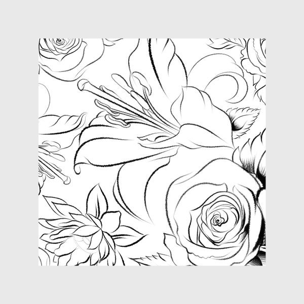 Шторы «Бесшовный паттерн с цветами»