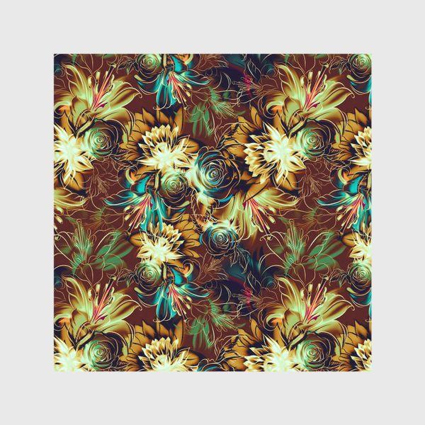 Шторы «Абстрактный бесшовный паттерн с цветами. Летняя текстура с лилиями, розами, ромашками и хризантемами»
