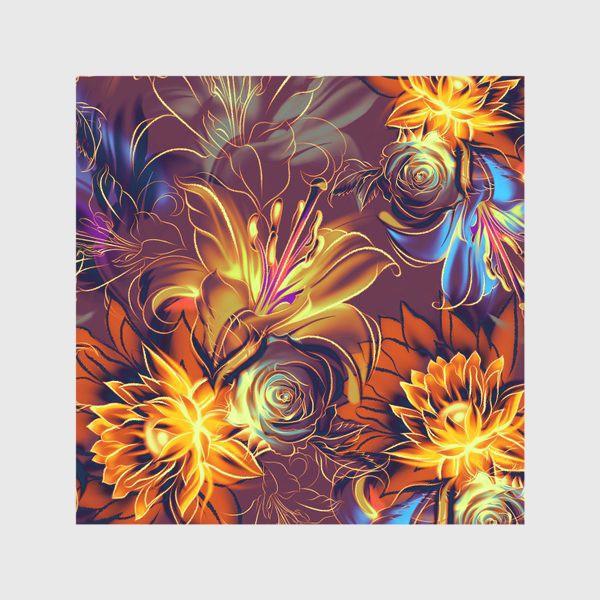 Скатерть «Абстрактный бесшовный паттерн с цветами. Летняя текстура с лилиями, розами, ромашками и хризантемами»